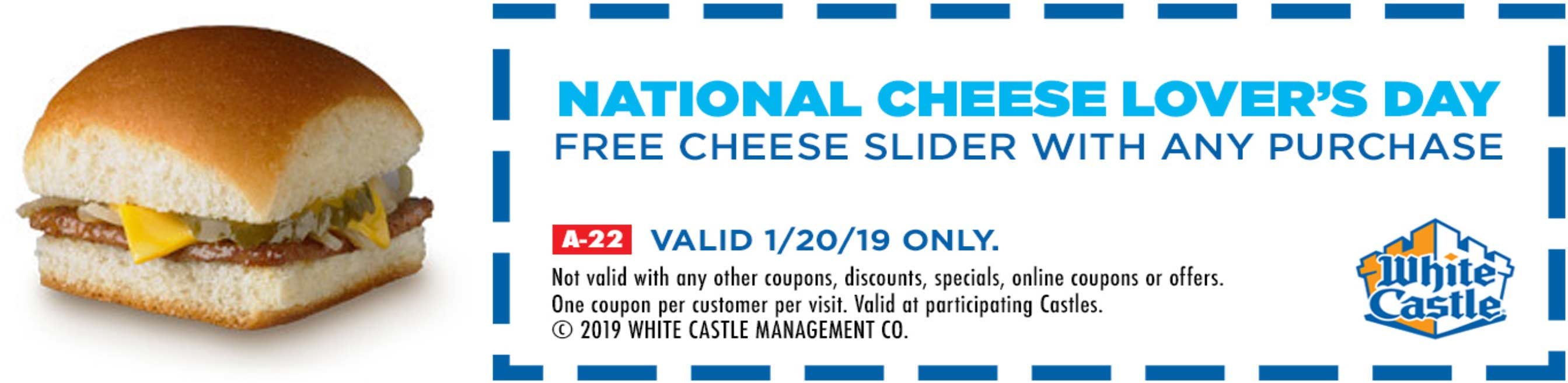White Castle Coupon April 2019 Free cheeseburger today at White Castle restaurants