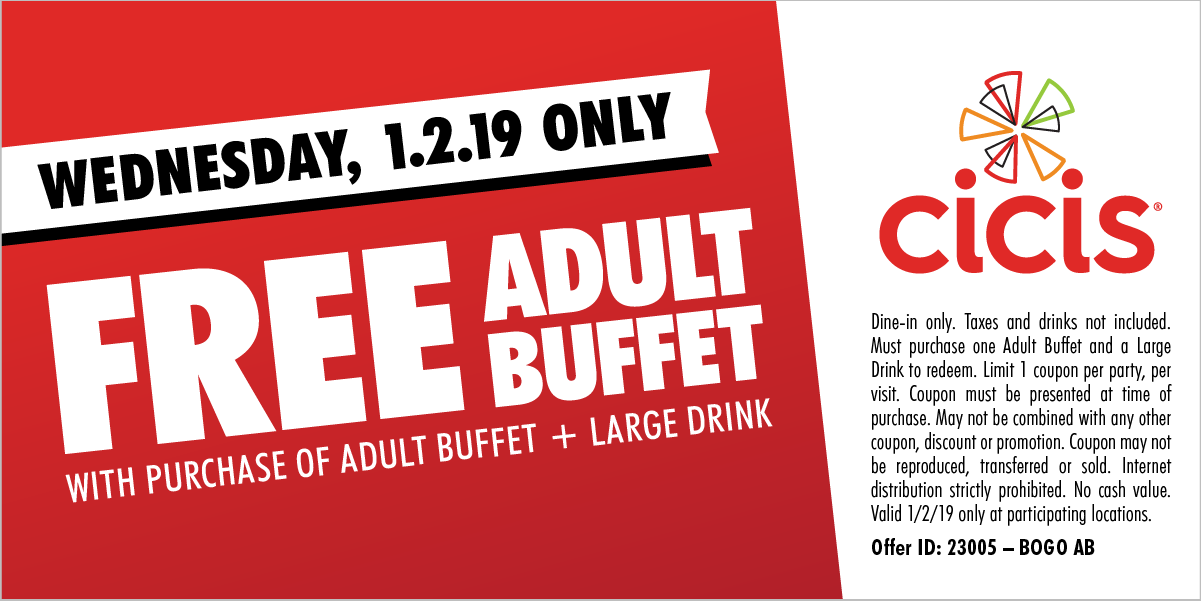 CiCis Pizza Coupon September 2019 Second buffet free today at Cicis pizza