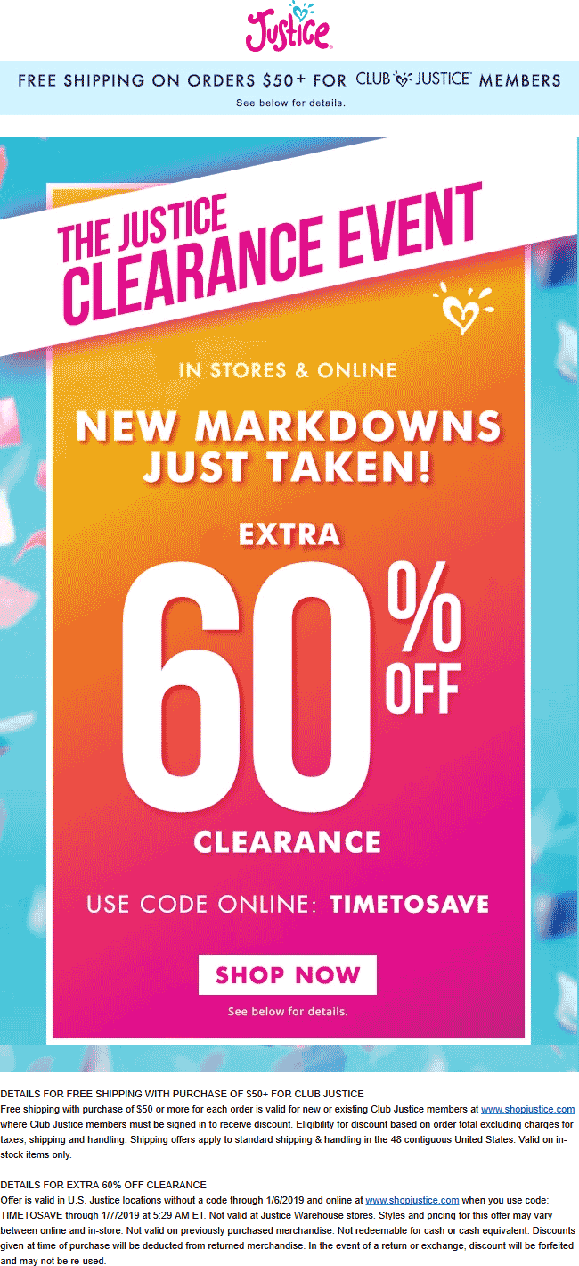 Justice Coupon May 2019 Extra 60% off clearance at Justice, or online via promo code TIMETOSAVE