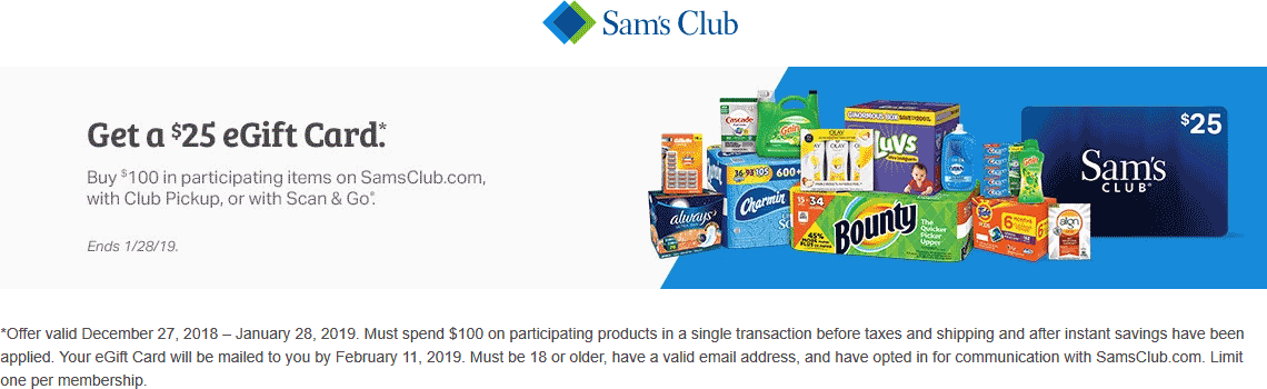 Sams Club Coupon October 2019 Free $25 card with $100 spent on various items at Sams Club