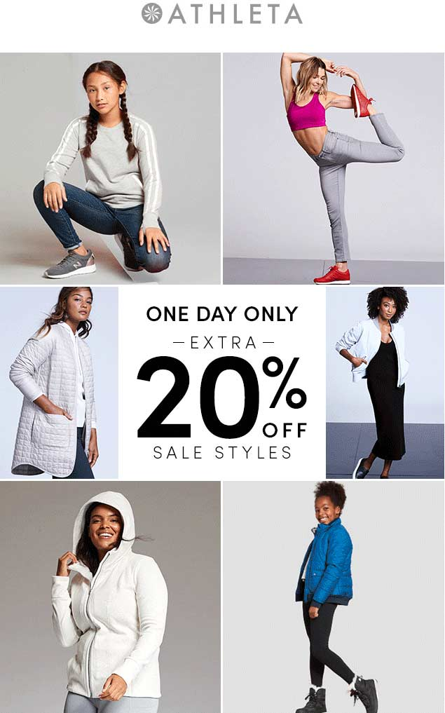 Athleta Coupon July 2019 Extra 20% off today at Athleta, ditto online