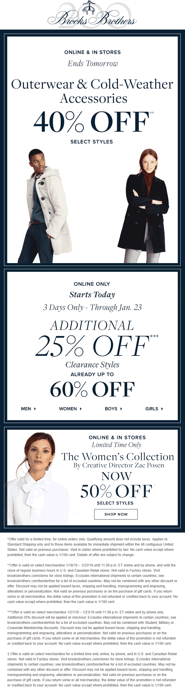 Brooks Brothers Coupon January 2020 40% off cold weather & more at Brooks Brothers, ditto online