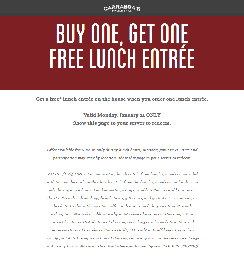 Carrabbas Coupon January 2020 Second lunch free today at Carrabbas