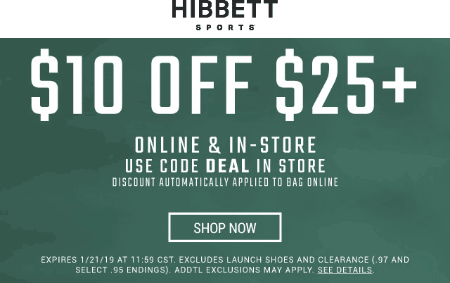 Hibbett Sports Coupon November 2019 $10 off $25 today at Hibbett Sports, ditto online