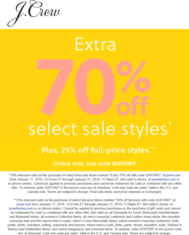 J.Crew Coupon February 2019 25-70% off sale items online today at J.Crew via promo code GOFORIT