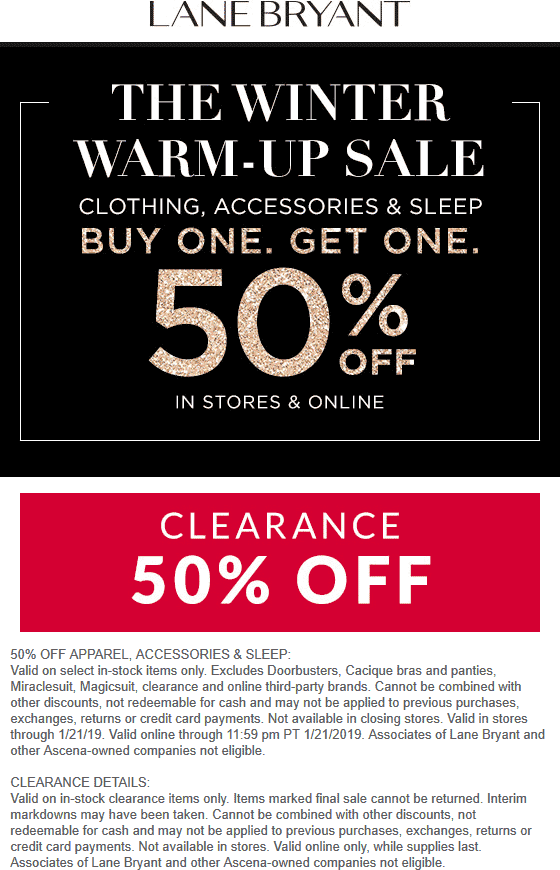 Lane Bryant Coupon September 2019 Second item 50% off today at Lane Bryant, ditto online