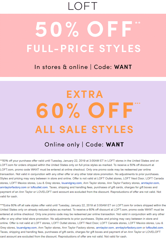 LOFT Coupon May 2019 50% off at LOFT, or online via promo code WANT