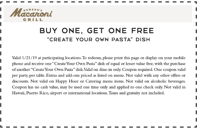 Macaroni Grill Coupon November 2019 Second pasta dish free today at Macaroni Grill restaurants