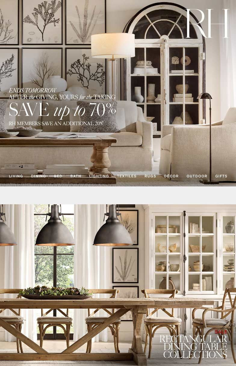 Restoration Hardware Coupon January 2020 Extra 20% off today at Restoration Hardware, ditto online