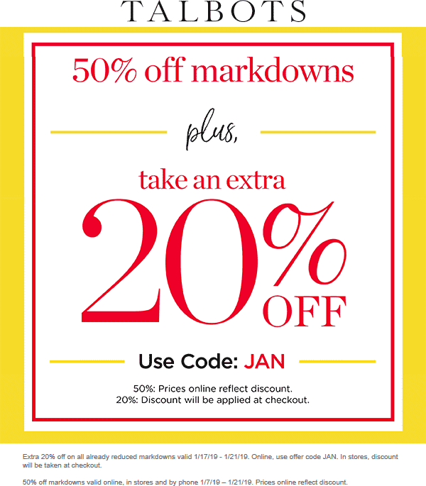 Talbots Coupon November 2019 Extra 20-50% off sale items today at Talbots, or online via promo code JAN