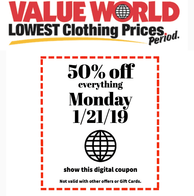 Value World Coupon August 2019 50% off everything today at Value World