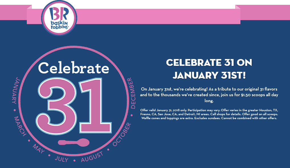 Baskin Robbins Coupon April 2019 $1.50 ice cream scoops the 31st at Baskin Robbins