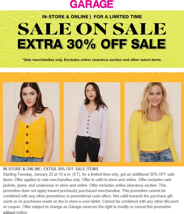 Garage Coupon May 2019 Extra 30% off sale items at Garage, ditto online