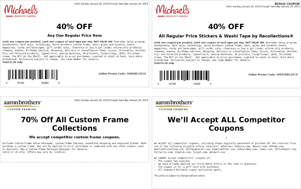 Michaels Coupon April 2019 40% off a single item at Michaels, or online via promo code 40SAVE12019