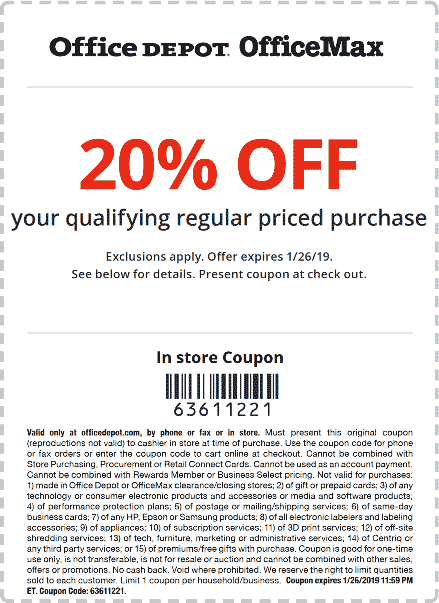 Office Depot Coupon October 2019 20% off at Office Depot & OfficeMax, or online via promo code 63611221