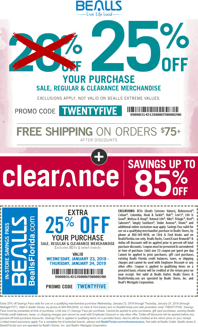 Bealls Coupon November 2019 Extra 25% off at Bealls, or online via promo code TWENTYFIVE