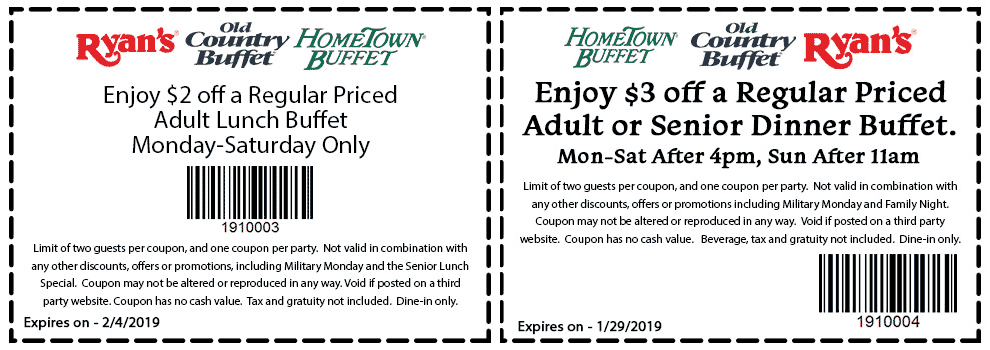 Hometown Buffet Coupon January 2020 $2-$3 off lunch or dinner at Ryans, Hometown Buffet & Old Country Buffet
