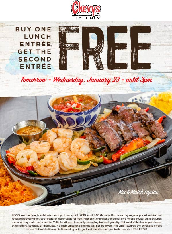 Chevys Coupon October 2019 Second lunch free today at Chevys Fresh Mex