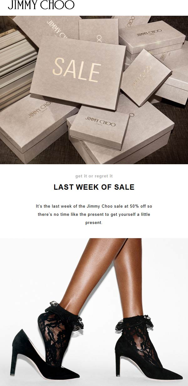 Jimmy Choo Coupon November 2019 50% off sale going on at Jimmy Choo, ditto online