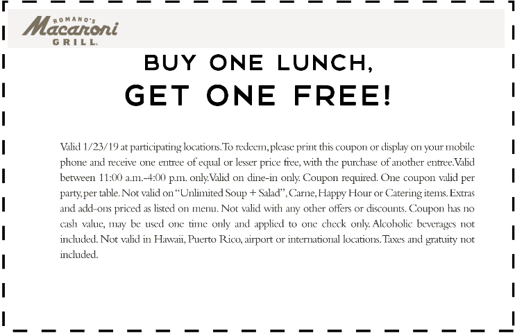 Macaroni Grill Coupon June 2019 Second lunch free today at Macaroni Grill