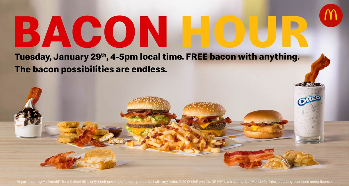 McDonalds Coupon May 2019 Free bacon Tuesday 4-5p at McDonalds