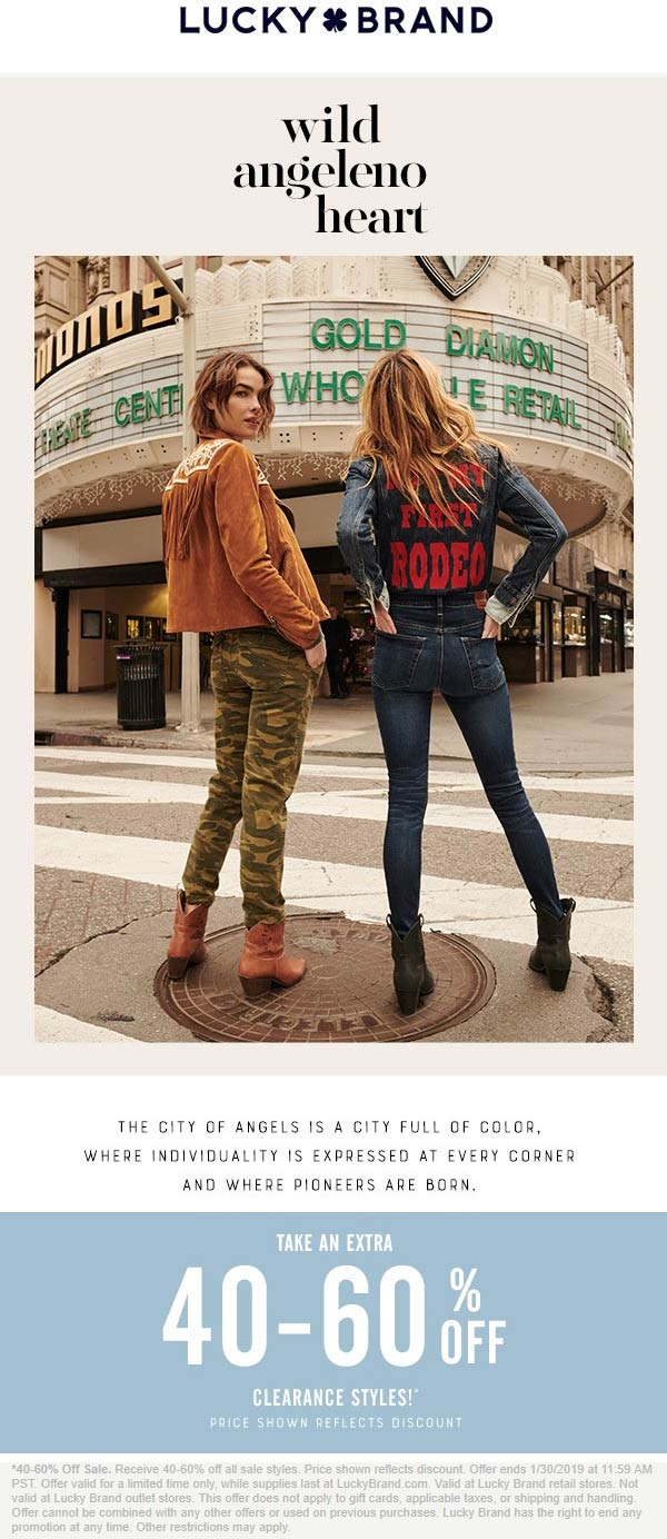 Lucky Brand Coupon November 2019 Extra 40-60% off clearance at Lucky Brand, ditto online