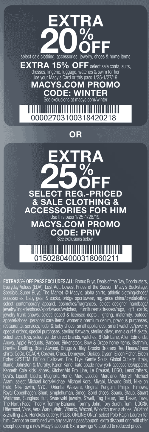 Macys Coupon July 2019 Extra 20% off & more at Macys, or online via promo code WINTER