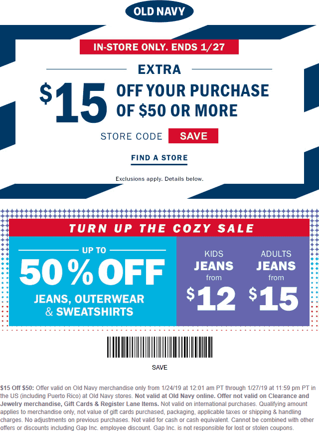 Old Navy Coupon January 2020 $15 off $50 at Old Navy