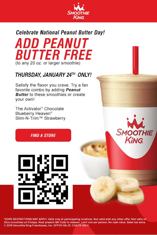 Smoothie King Coupon October 2019 Add peanut butter free today at Smoothie King