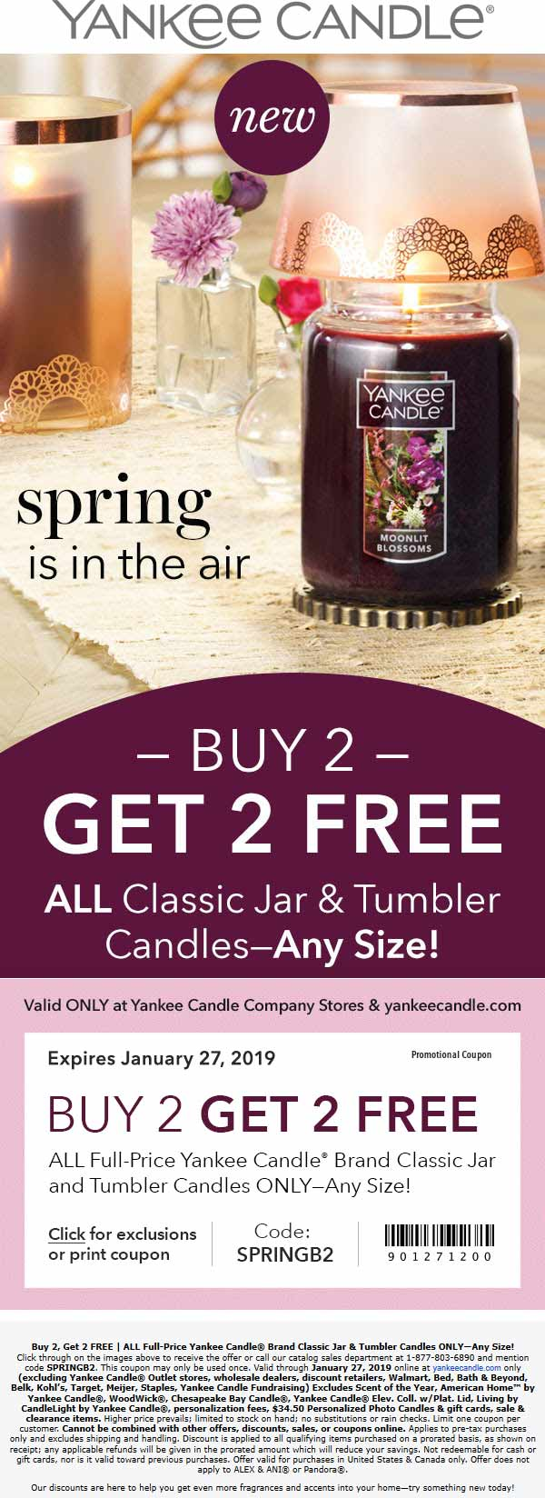 Yankee Candle Coupon July 2019 4-for-2 on candles at Yankee Candle, or online via promo code SPRINGB2
