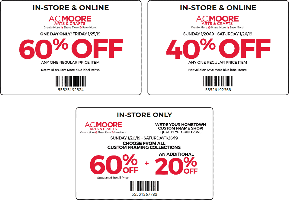 A.C. Moore Coupon January 2020 60% off a single item & more at A.C. Moore