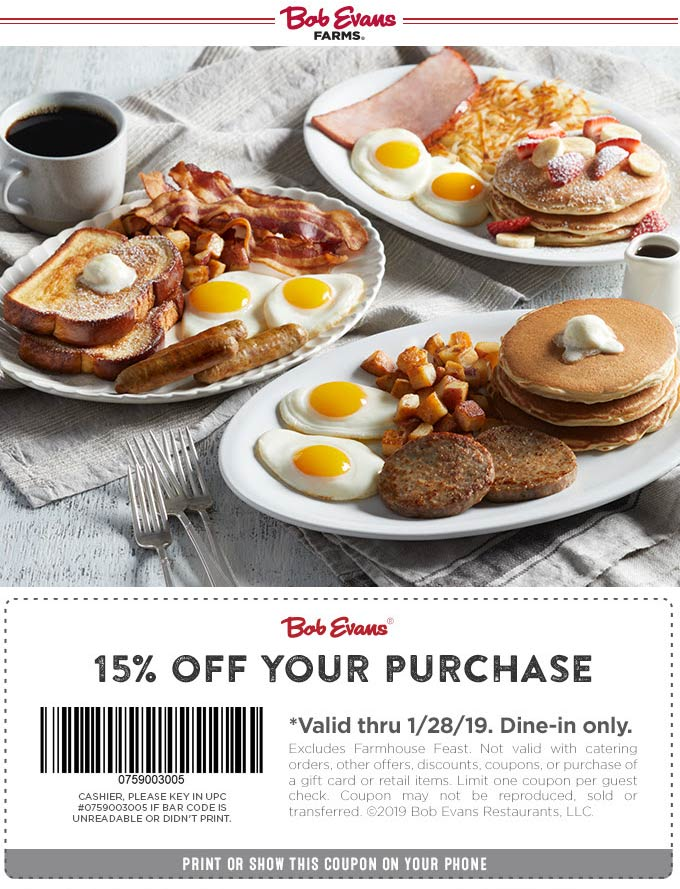 BobEvans.com Promo Coupon 15% off at Bob Evans restaurants
