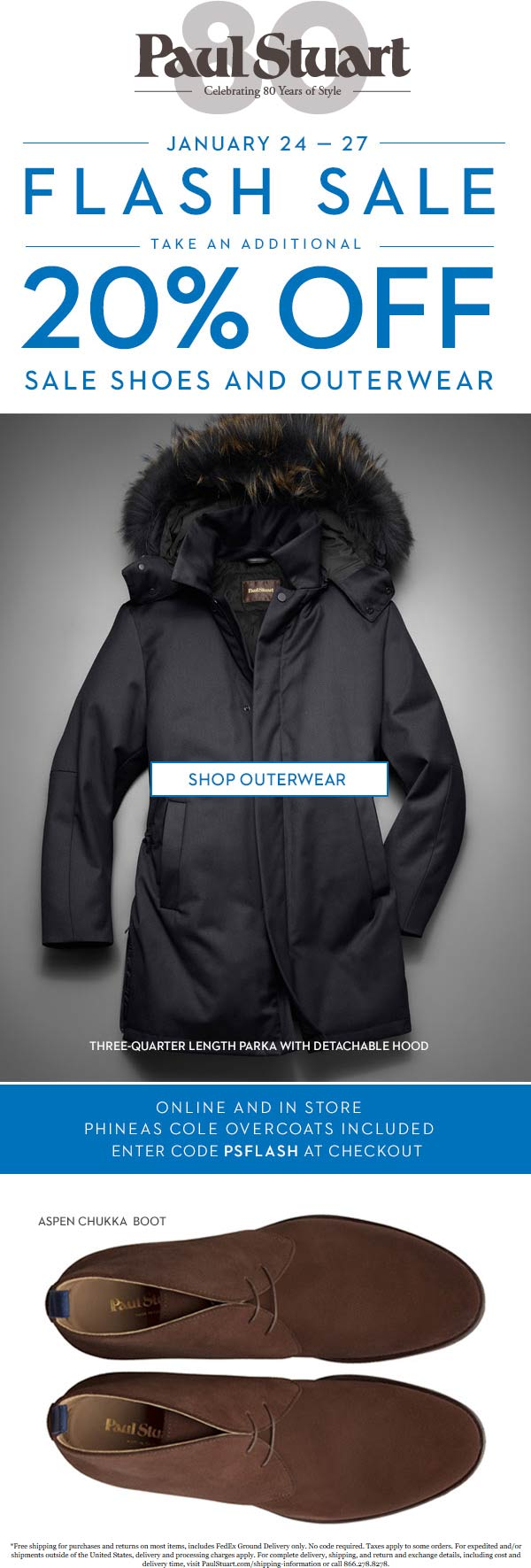 Paul Stuart Coupon November 2019 20% off outerwear at Paul Stuart, ditto online