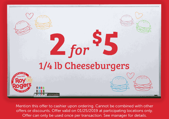 Roy Rogers Coupon January 2020 2 cheeseburgers for $5 today at Roy Rogers restaurants