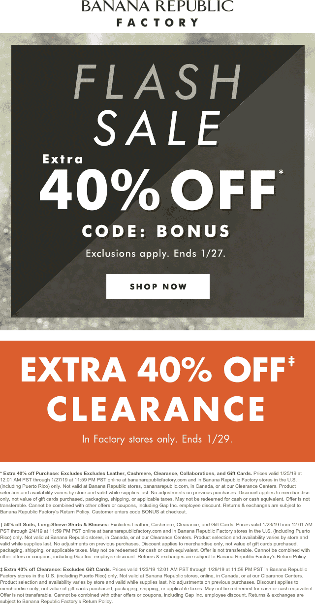Banana Republic Coupon May 2019 Extra 40% off at Banana Republic Facotry, or online via promo code BONUS