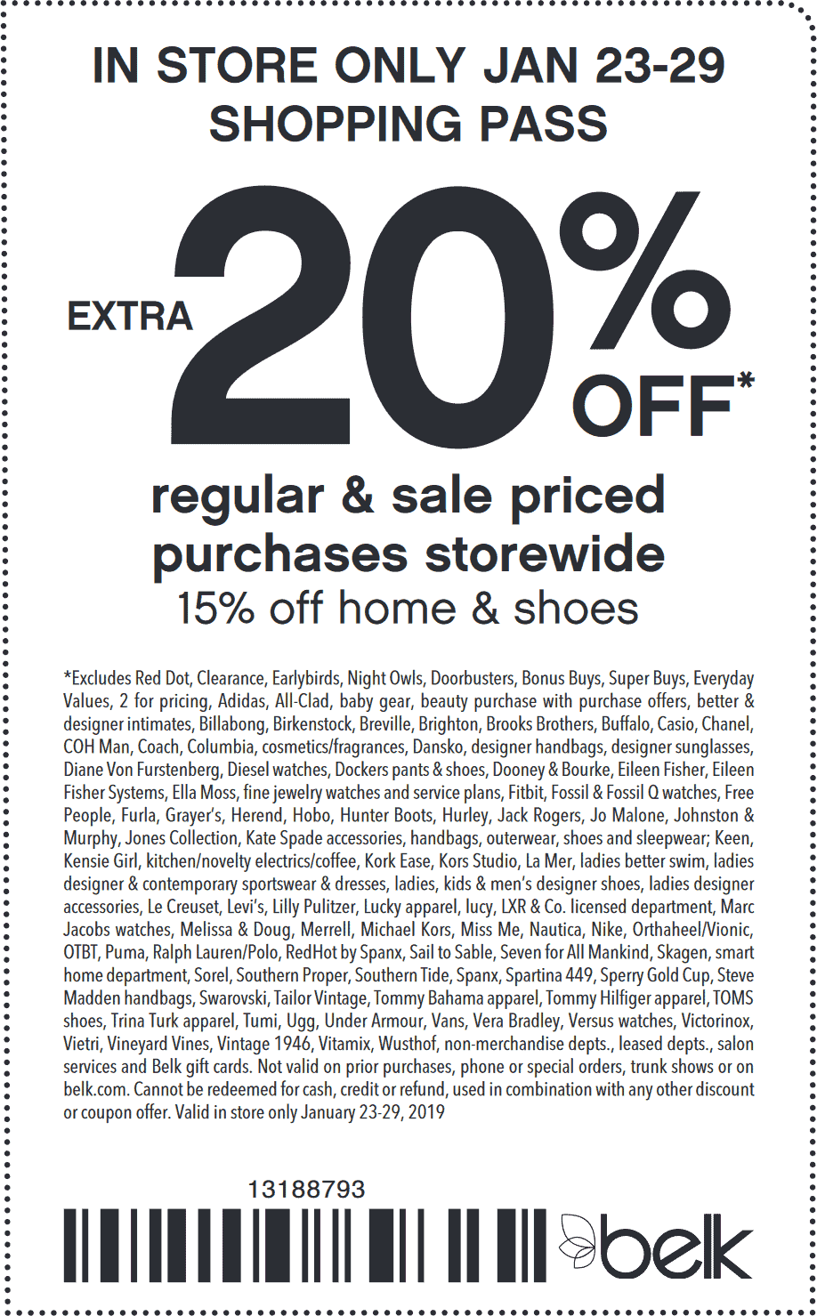 Belk Coupon March 2019 20% off at Belk