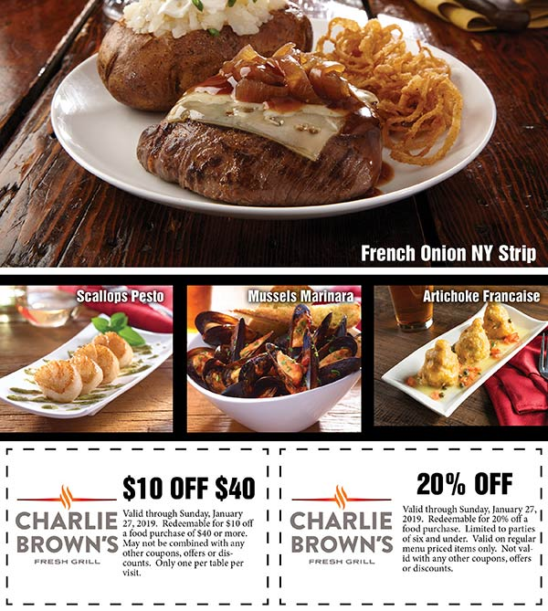 Charlie Browns Coupon October 2019 20% off & more at Charlie Browns restaurants
