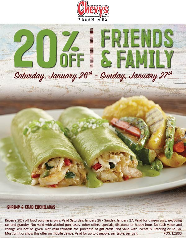 Chevys Coupon May 2019 20% off at Chevys Fresh Mex restaurants