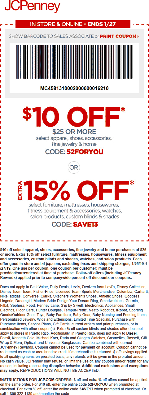 JCPenney Coupon January 2020 $10 off $25 at JCPenney, or online via promo code 52FORYOU