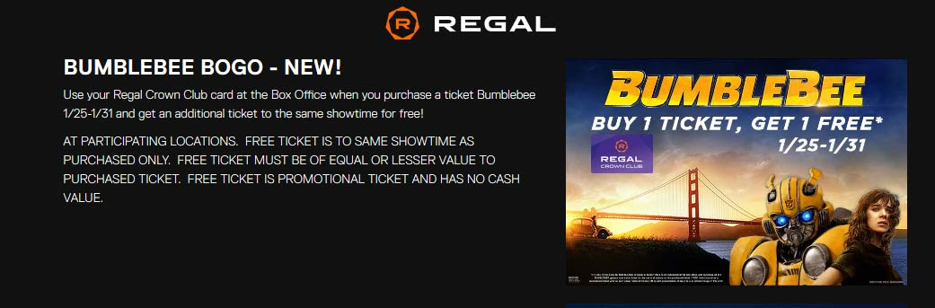 Regal Theaters Coupon May 2019 Second Bumblebee movie ticket free at Regal theaters