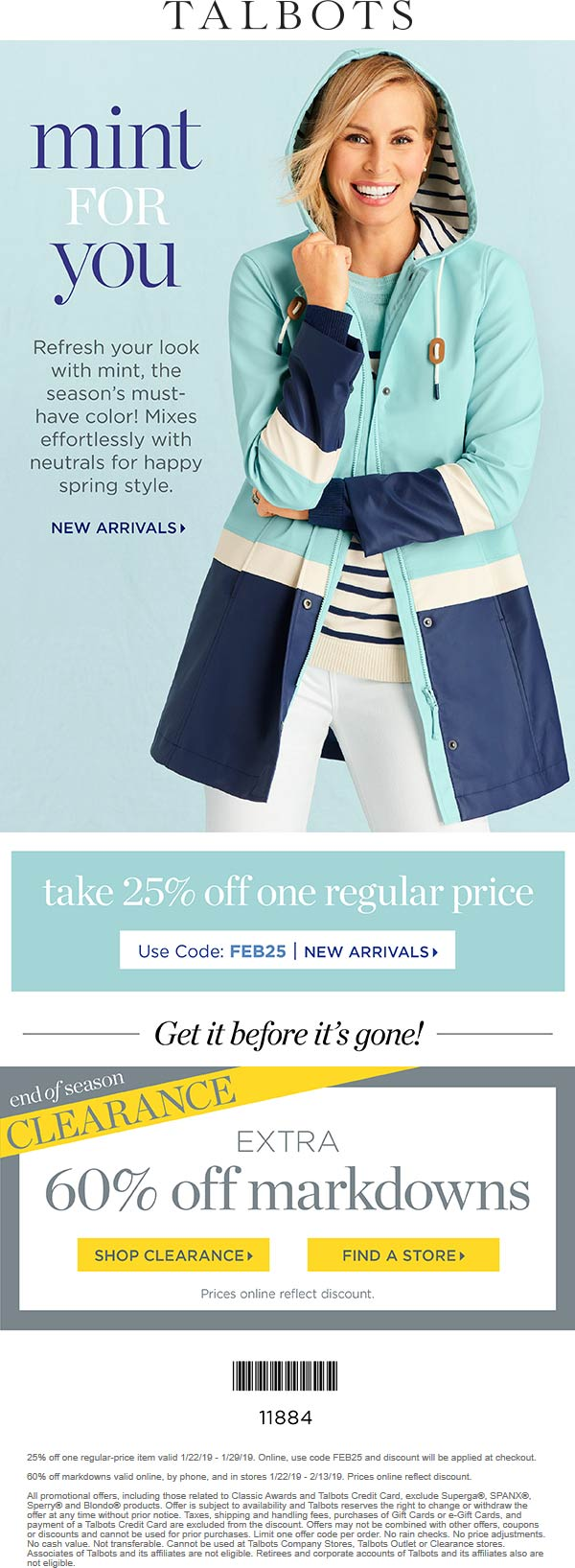 Talbots Coupon May 2019 25% off a single item at Talbots, or online via promo code FEB25