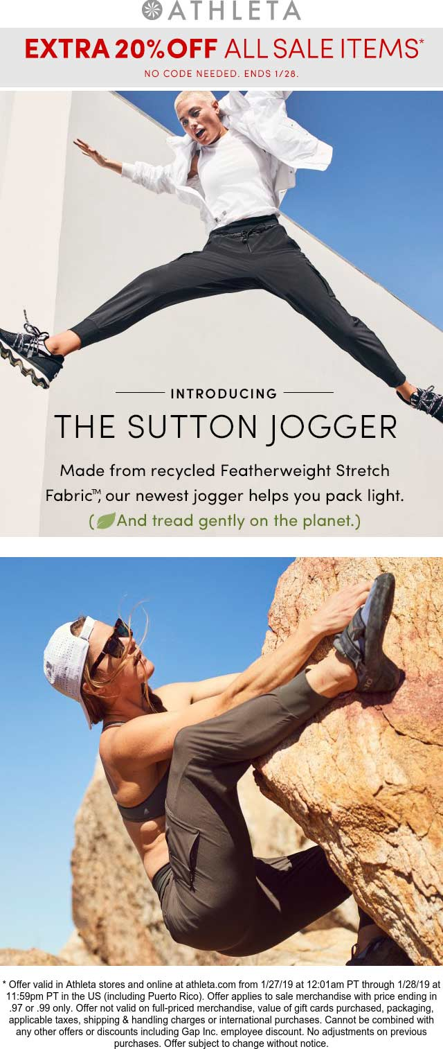 Athleta Coupon June 2019 Extra 20% off sale items at Athleta, ditto online
