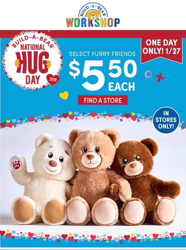 Build-A-Bear Coupon November 2019 $5.50 bears today at Build-A-Bear workshop