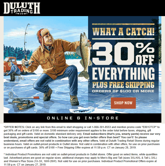 Duluth Trading Co Coupon August 2019 30% off at Duluth Trading Co, or online via promo code E80127CP