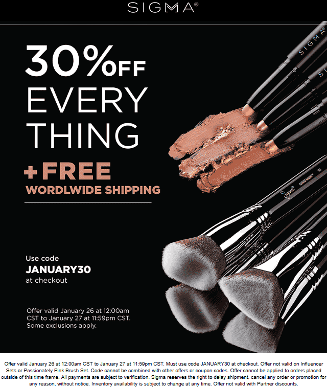 Sigma Coupon May 2019 30% off everything today at Sigma beauty via promo code JANUARY30