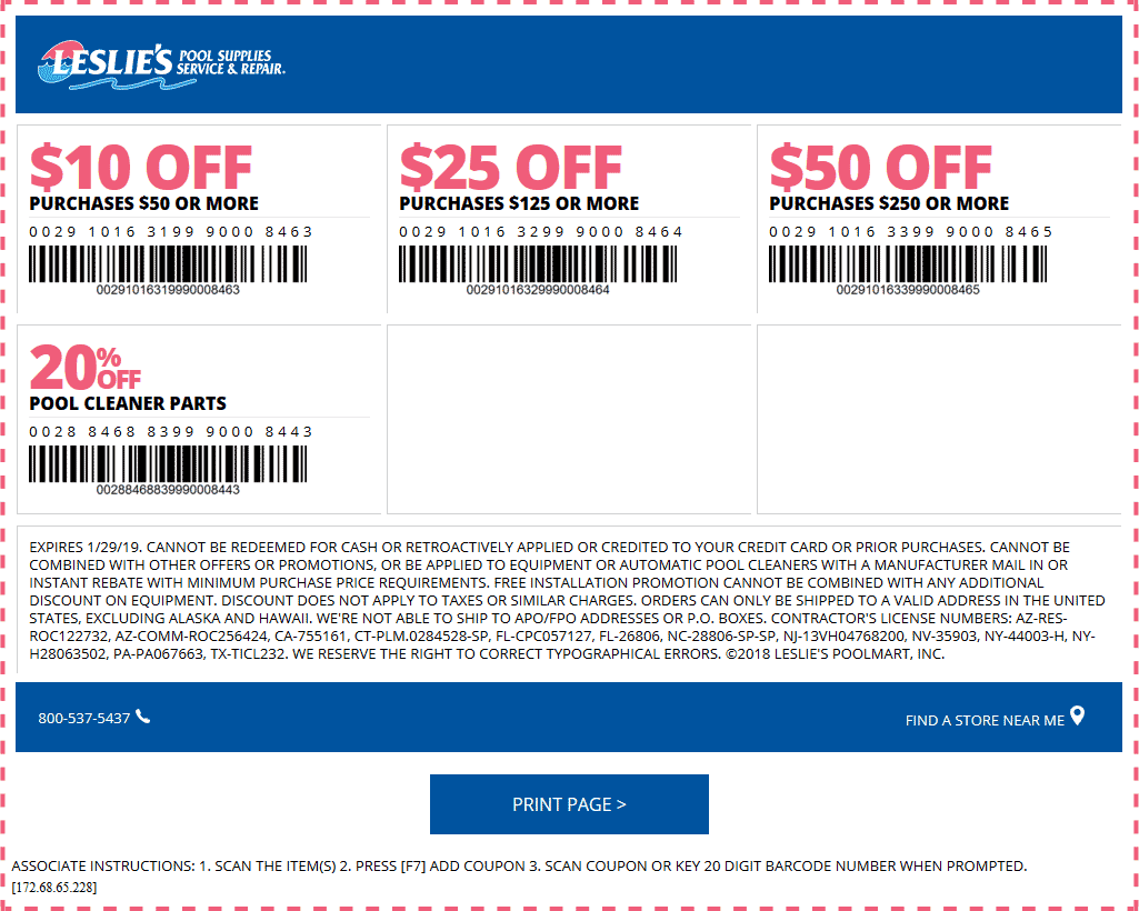Leslies Pool Supplies Coupon November 2019 $10 off $50 & more at Leslies Pool Supplies