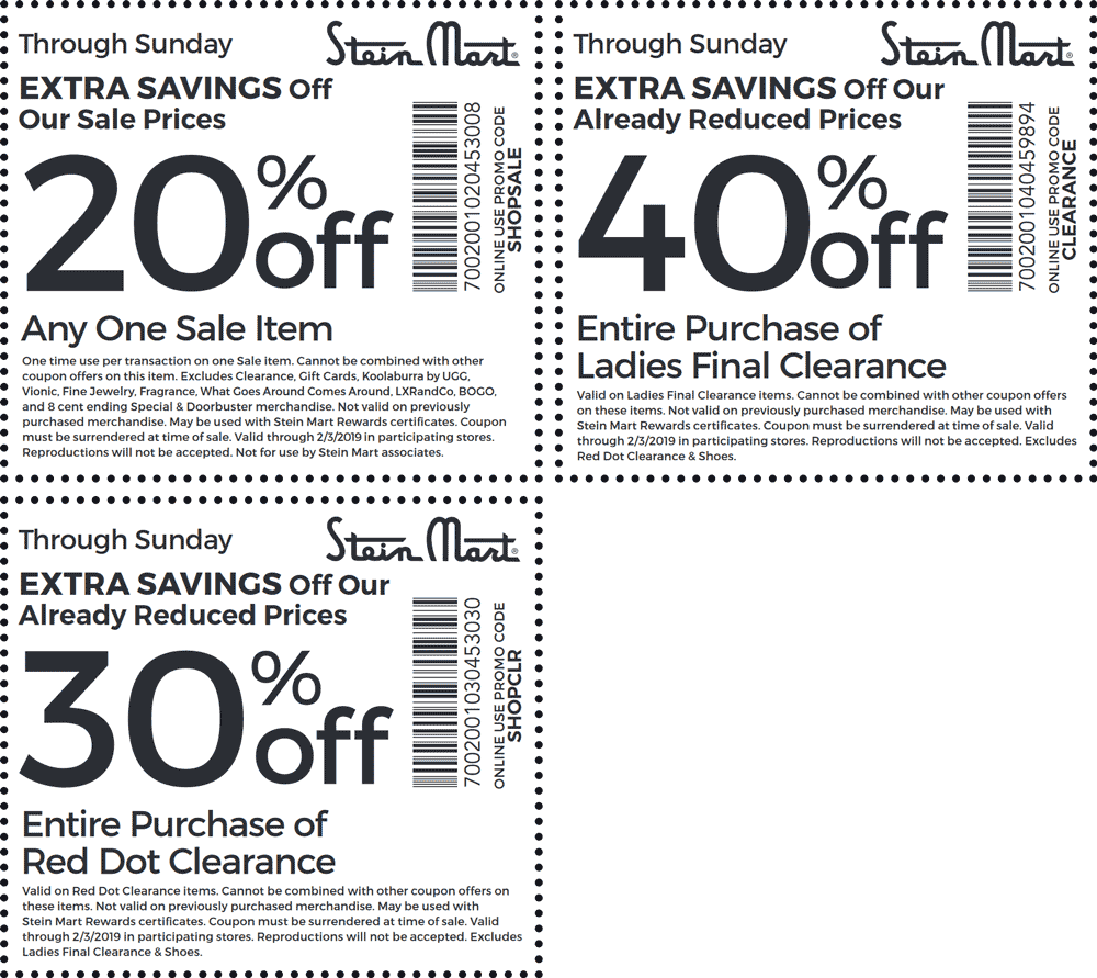 SteinMart.com Promo Coupon 20-40% off at Stein Mart, or online via promo code SHOPSALE
