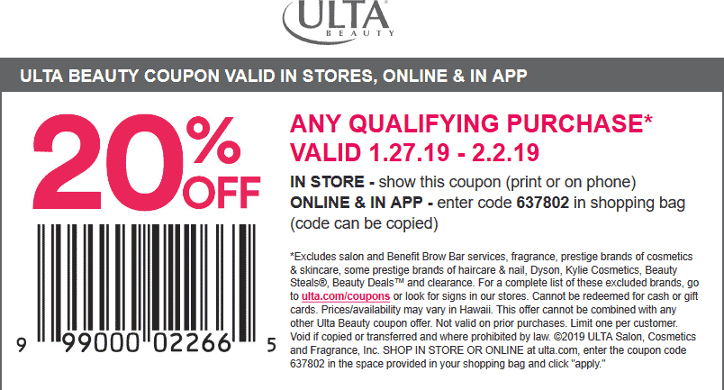 Ulta Coupon January 2020 20% off at Ulta Beauty, or online via promo code 637802