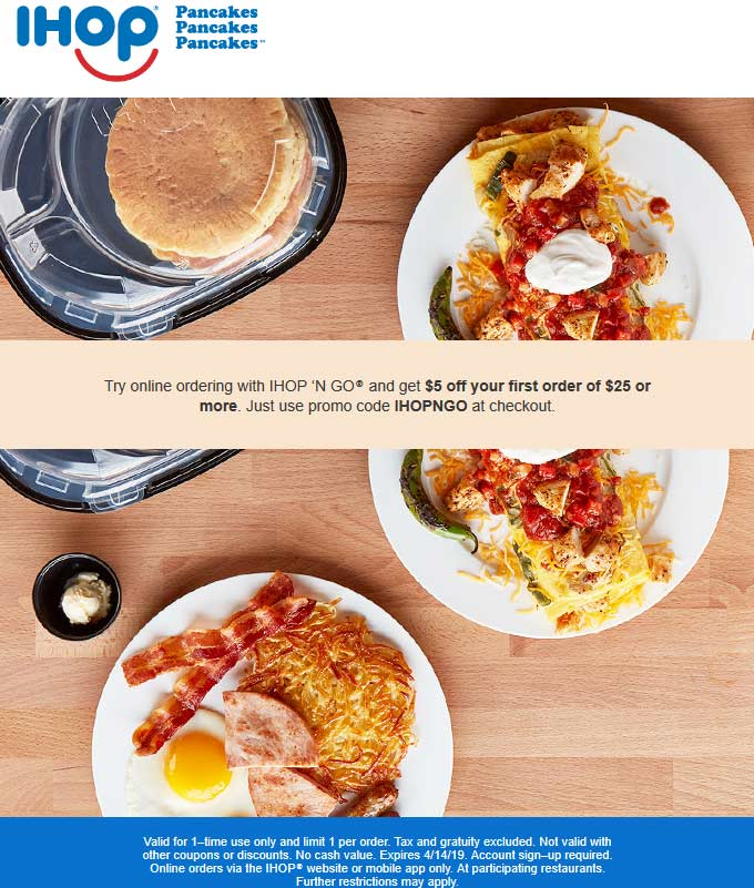 IHOP.com Promo Coupon $5 off $25 online at IHOP via promo code IHOPNGO