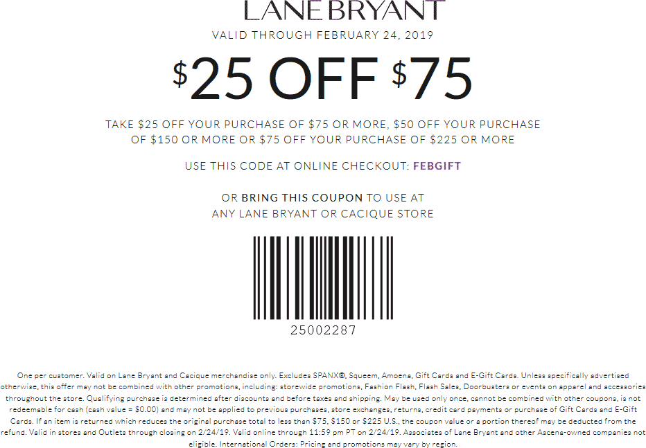 Lane Bryant Coupon September 2019 $25 off $75 at Lane Bryant, or online via promo code FEBGIFT